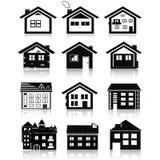 Iconos de las casas fijados Casas de las propiedades inmobiliarias?, planos para la venta o para el alquiler Foto de archivo libre de regalías