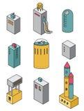 Iconos de las casas fijados Ejemplo del vector del edificios isométricos Foto de archivo libre de regalías