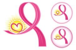 Iconos de las cintas del cáncer de pecho Foto de archivo libre de regalías