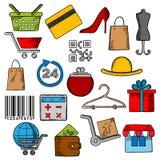 Iconos de las compras, de la venta al por menor y del comercio ilustración del vector