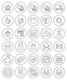 Iconos de las compras del esquema Fotografía de archivo libre de regalías