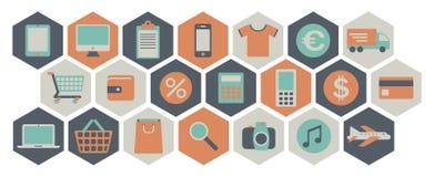 Iconos de las compras del Web Fotos de archivo libres de regalías