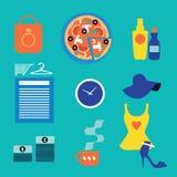 Iconos de las compras del web Fotografía de archivo libre de regalías