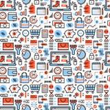 Iconos de las compras en línea y del comercio al por menor ilustración del vector