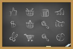 Iconos de las compras en la pizarra Imagen de archivo libre de regalías
