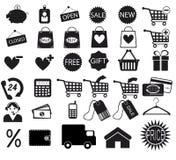 Iconos de las compras fijados stock de ilustración