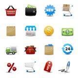 Iconos de las compras fijados  Fotografía de archivo