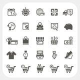 Iconos de las compras fijados Fotografía de archivo libre de regalías
