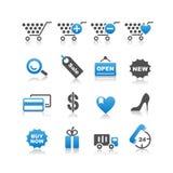 Iconos de las compras fijados Imágenes de archivo libres de regalías