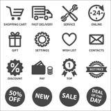 Iconos de las compras fijados ilustración del vector
