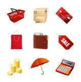 Iconos de las compras fijados. Vector Fotografía de archivo