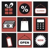 Iconos de las compras, pictogramas blancos y negros del comercio electrónico Foto de archivo