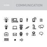 Iconos de las comunicaciones fijados aislados en blanco ilustración del vector