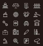 Iconos de las cortes de la justicia y de ley Fotos de archivo libres de regalías