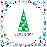 Iconos de las decoraciones de la Navidad Árbol de abeto decorativo Fotografía de archivo libre de regalías