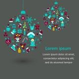 Iconos de las decoraciones de la Navidad Bola de la Navidad Fotografía de archivo