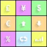 Iconos de las divisas Imágenes de archivo libres de regalías