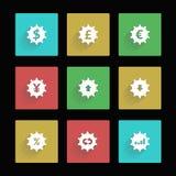 Iconos de las divisas Fotos de archivo