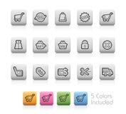 Iconos de las E-compras -- Botones del esquema Imágenes de archivo libres de regalías