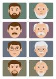 Iconos de las edades de la gente de la cara, masculinos de joven a viejo Ilustraci?n del vector stock de ilustración