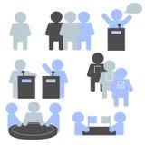 Iconos de las elecciones, negociaciones, equipo, discusión Imágenes de archivo libres de regalías