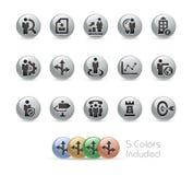 Iconos de las estrategias empresariales -- Serie redonda del metal Imágenes de archivo libres de regalías