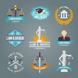 Iconos de las etiquetas de la ley fijados Fotografía de archivo libre de regalías