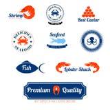 Iconos de las etiquetas de los mariscos fijados Fotos de archivo
