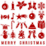 Iconos de las etiquetas engomadas de la Navidad Imágenes de archivo libres de regalías