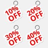 Iconos de las etiquetas engomadas del descuento de la venta Muestras del precio de oferta especial el 10, 20, 30 y 40 por ciento  Imagenes de archivo