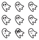 Iconos de las expresiones de la cara del fantasma Imagen de archivo