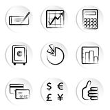 Iconos de las finanzas Fotografía de archivo