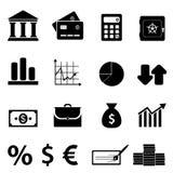 Iconos de las finanzas, del asunto y de las actividades bancarias