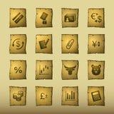 Iconos de las finanzas del papiro ilustración del vector