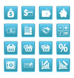 Iconos de las finanzas en cuadrados azules Imagenes de archivo