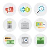 Iconos de las finanzas en diseño plano Imagen de archivo libre de regalías