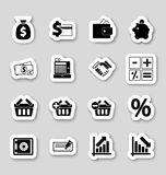 Iconos de las finanzas en stikers Imagenes de archivo