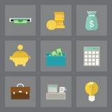 Iconos de las finanzas fijados Fotografía de archivo libre de regalías