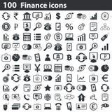 100 iconos de las finanzas fijados Imagenes de archivo