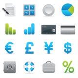 Iconos de las finanzas   Serie 01 del añil Fotografía de archivo libre de regalías