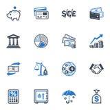 Iconos de las finanzas - serie azul Fotos de archivo libres de regalías