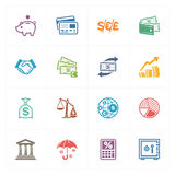 Iconos de las finanzas - serie coloreada Fotografía de archivo