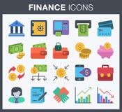 Iconos de las finanzas y de las actividades bancarias Foto de archivo