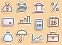 Iconos de las finanzas y de las actividades bancarias fijados Fotos de archivo libres de regalías