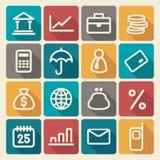 Iconos de las finanzas y de las actividades bancarias fijados Fotografía de archivo libre de regalías
