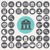 Iconos de las finanzas y de las actividades bancarias fijados Imágenes de archivo libres de regalías