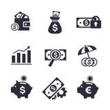 Iconos de las finanzas y de las actividades bancarias fijados Imagenes de archivo