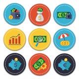 Iconos de las finanzas y de las actividades bancarias fijados Imagen de archivo libre de regalías