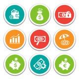 Iconos de las finanzas y de las actividades bancarias fijados Imagen de archivo
