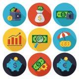 Iconos de las finanzas y de las actividades bancarias fijados Foto de archivo libre de regalías